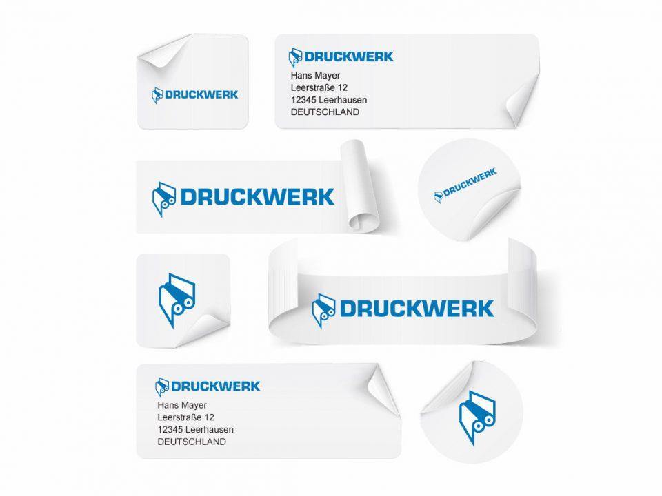 Druckwerk GmbH –Portfolio, Aufkleber, Mockup