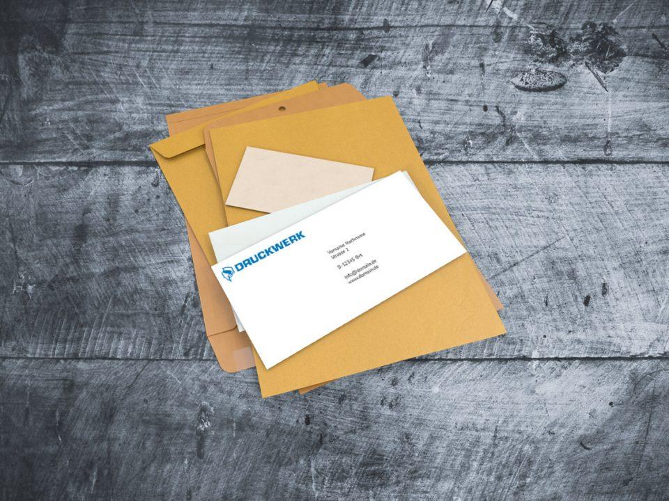Druckwerk GmbH –Portfolio, Kuverts, Mockup